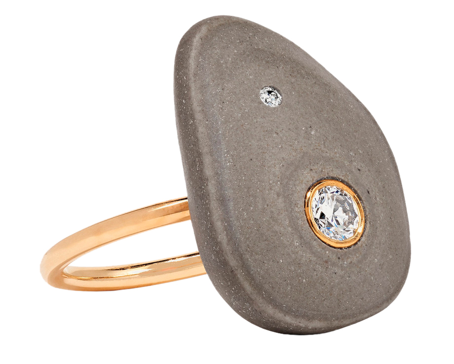gray and gold stone ring