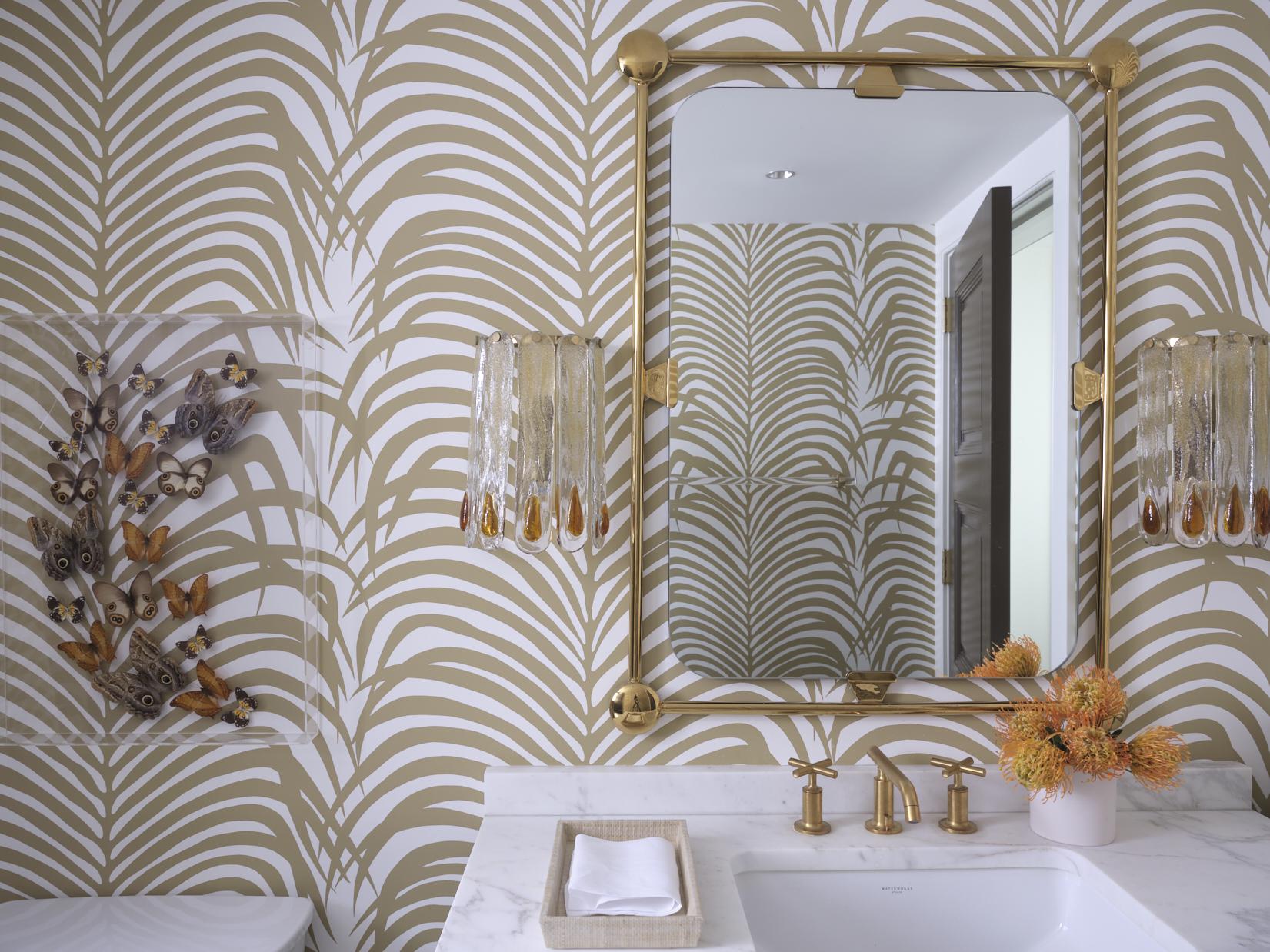 Melanie Turner Schumacher palm wallpaper powder room