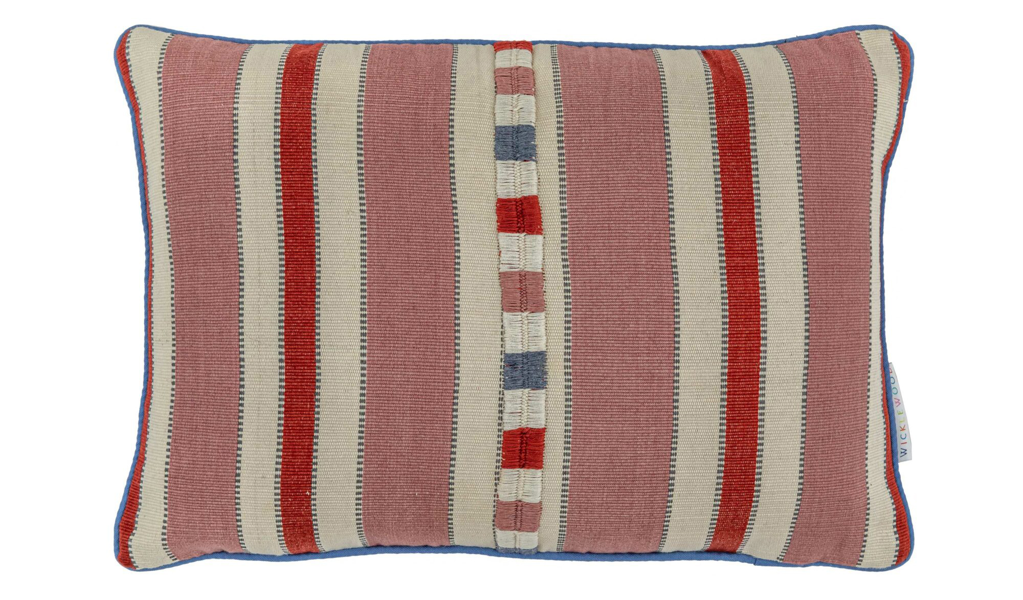 red and pink striped pillow
