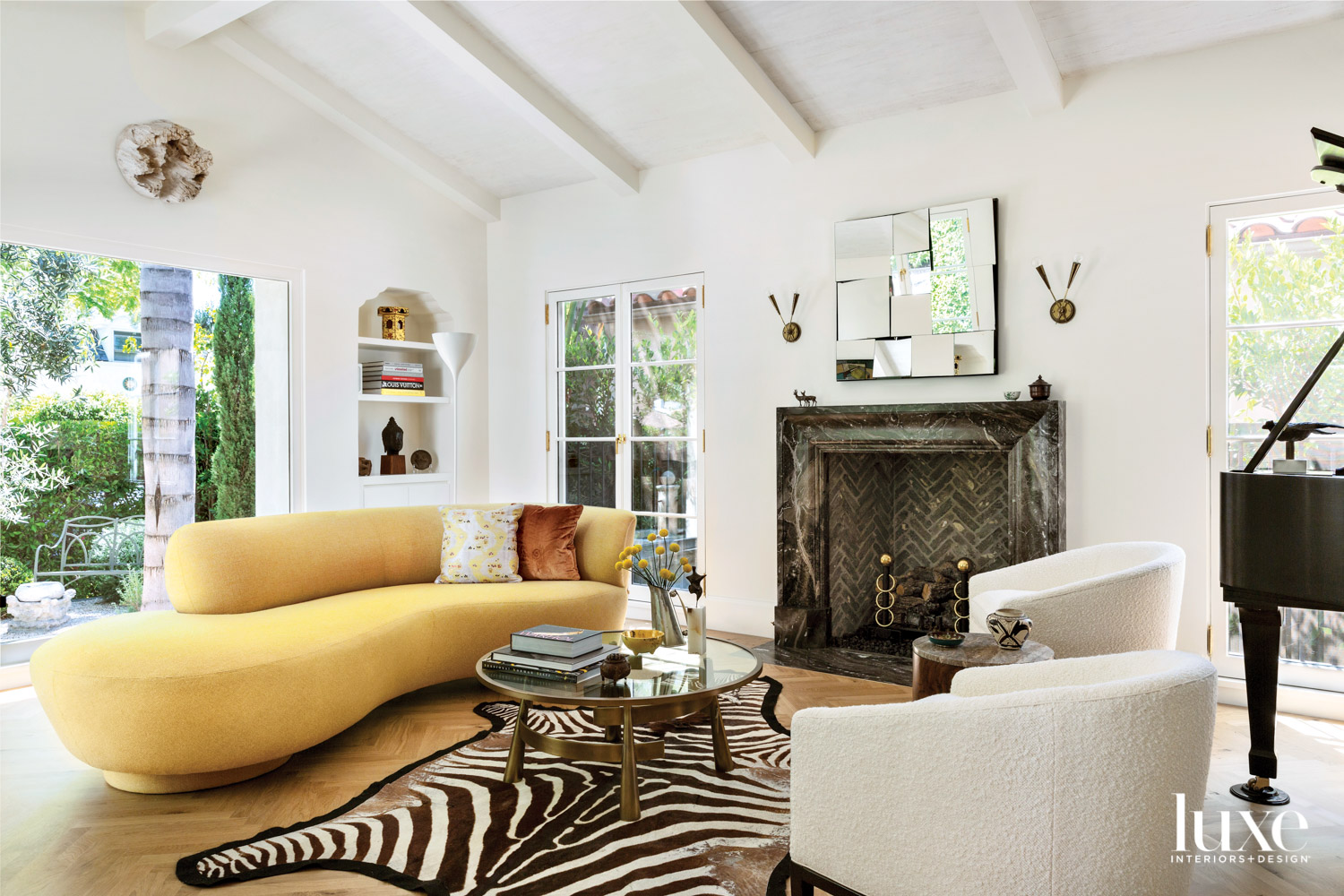 Living room with large yellow...