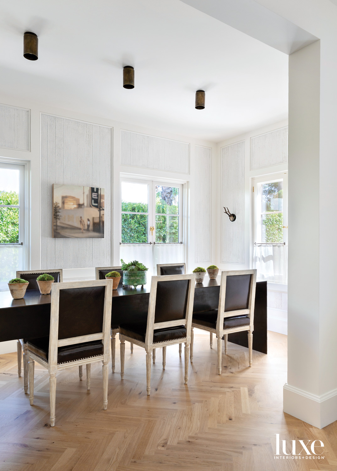Dining room with modern table...
