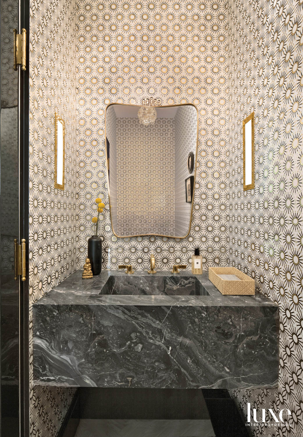 Detail of powder room with...