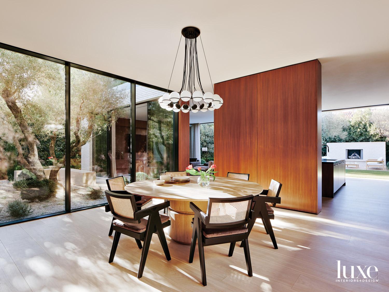 Dining area with overheard light,...
