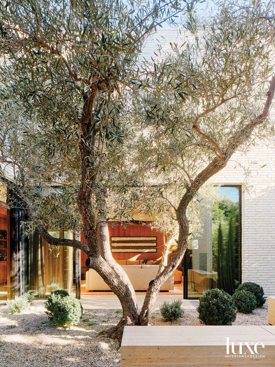 Interior courtyard of home with...