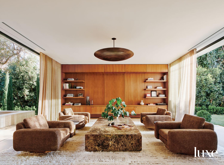 Living room facing a wood...