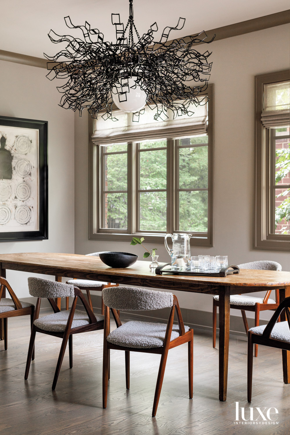 A dining area with a...