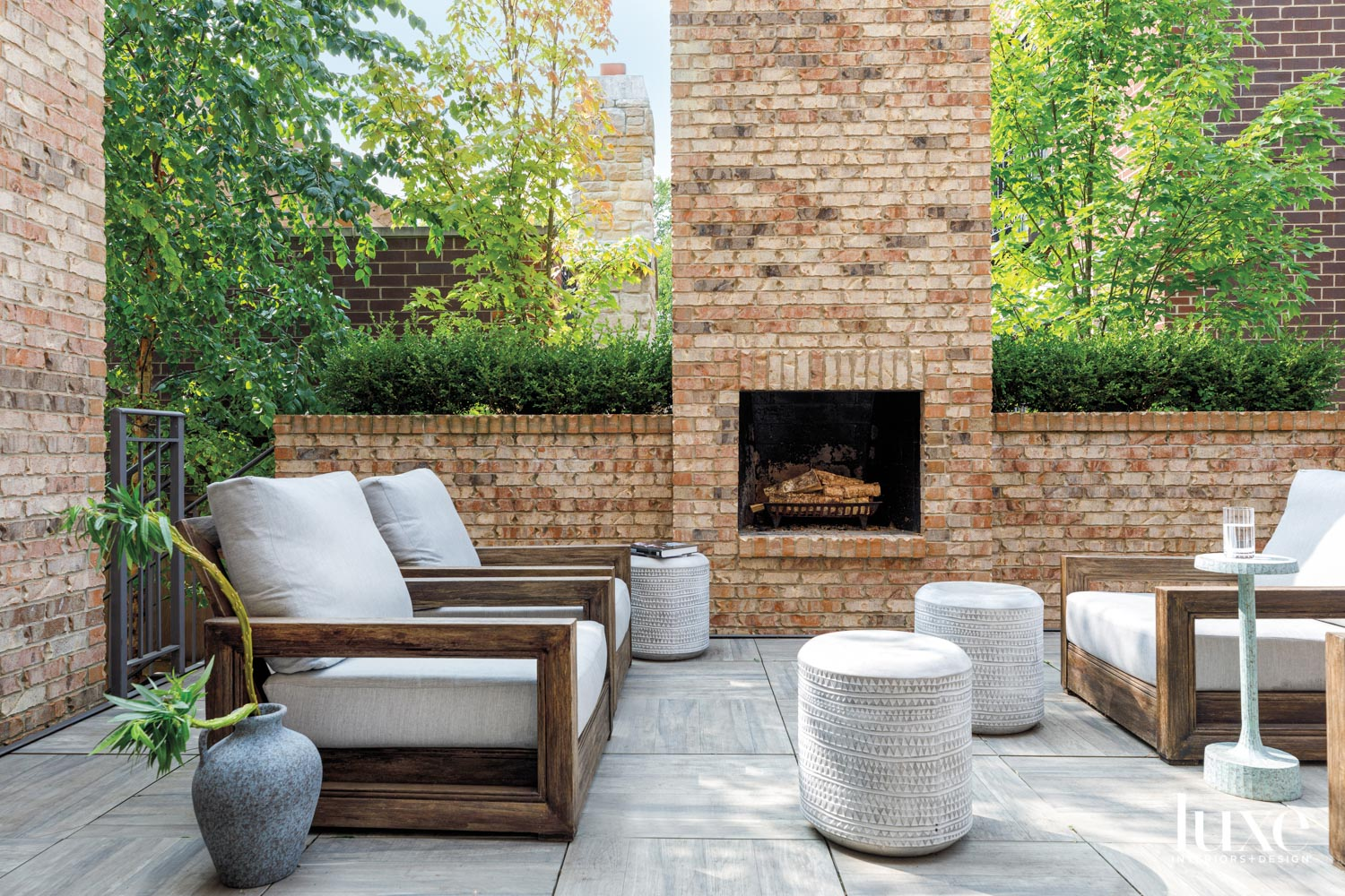 A seating area surrounding a...