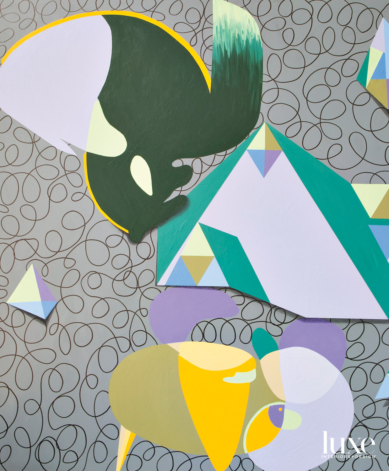 A painting with shapes in yellow, purple, blue and teal, on a gray background with curved lines.