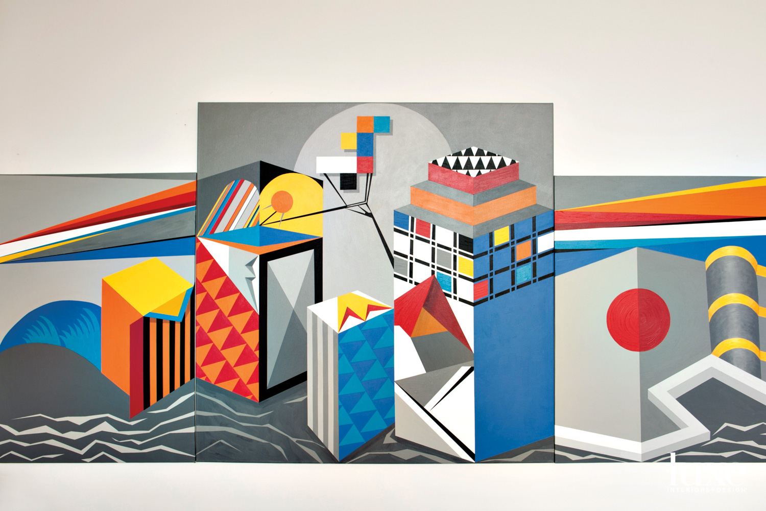 A bright geometric painting with a gray background.