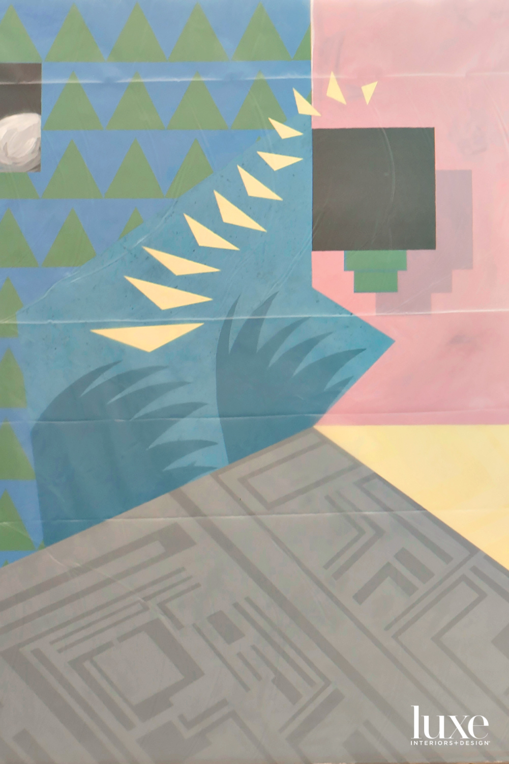 A detail shot of a pastel painting with various shapes.