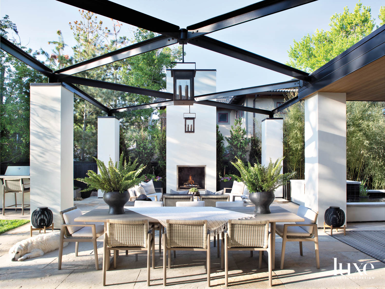 An outdoor dining room and...