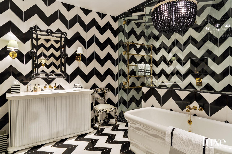 A bathroom has a bold...