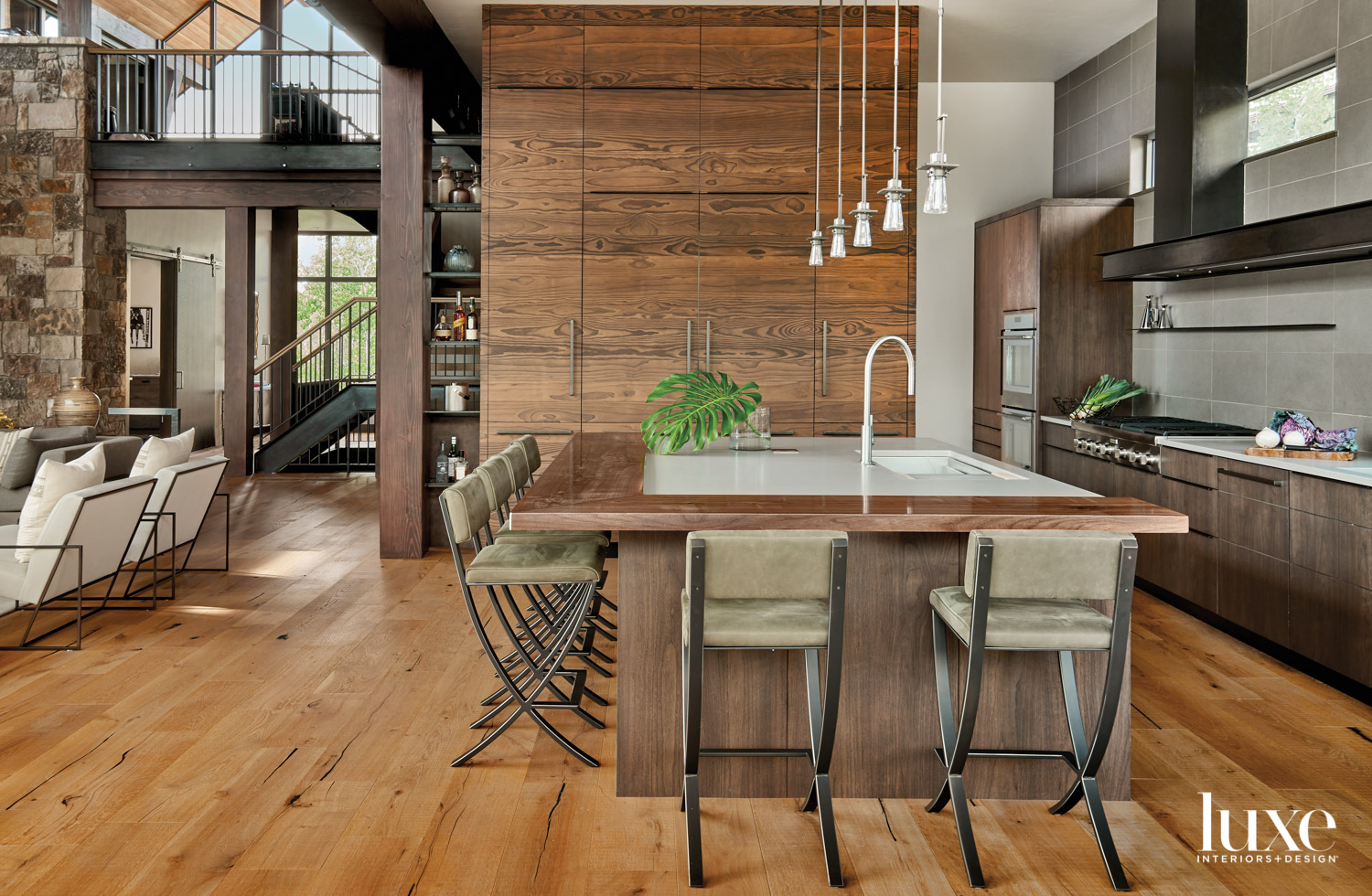 The kitchen features wood with...