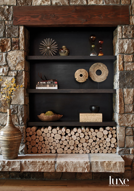 A shelf displays various decorative...