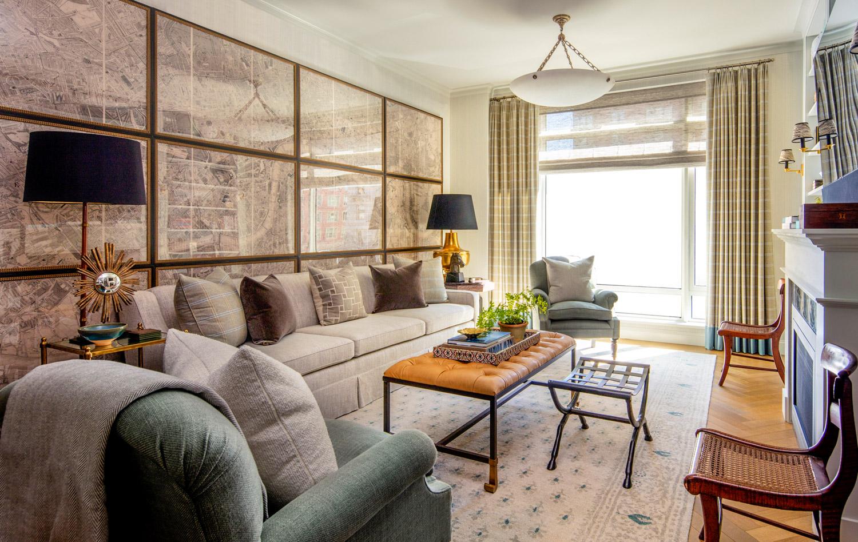 living room with custom draperies...