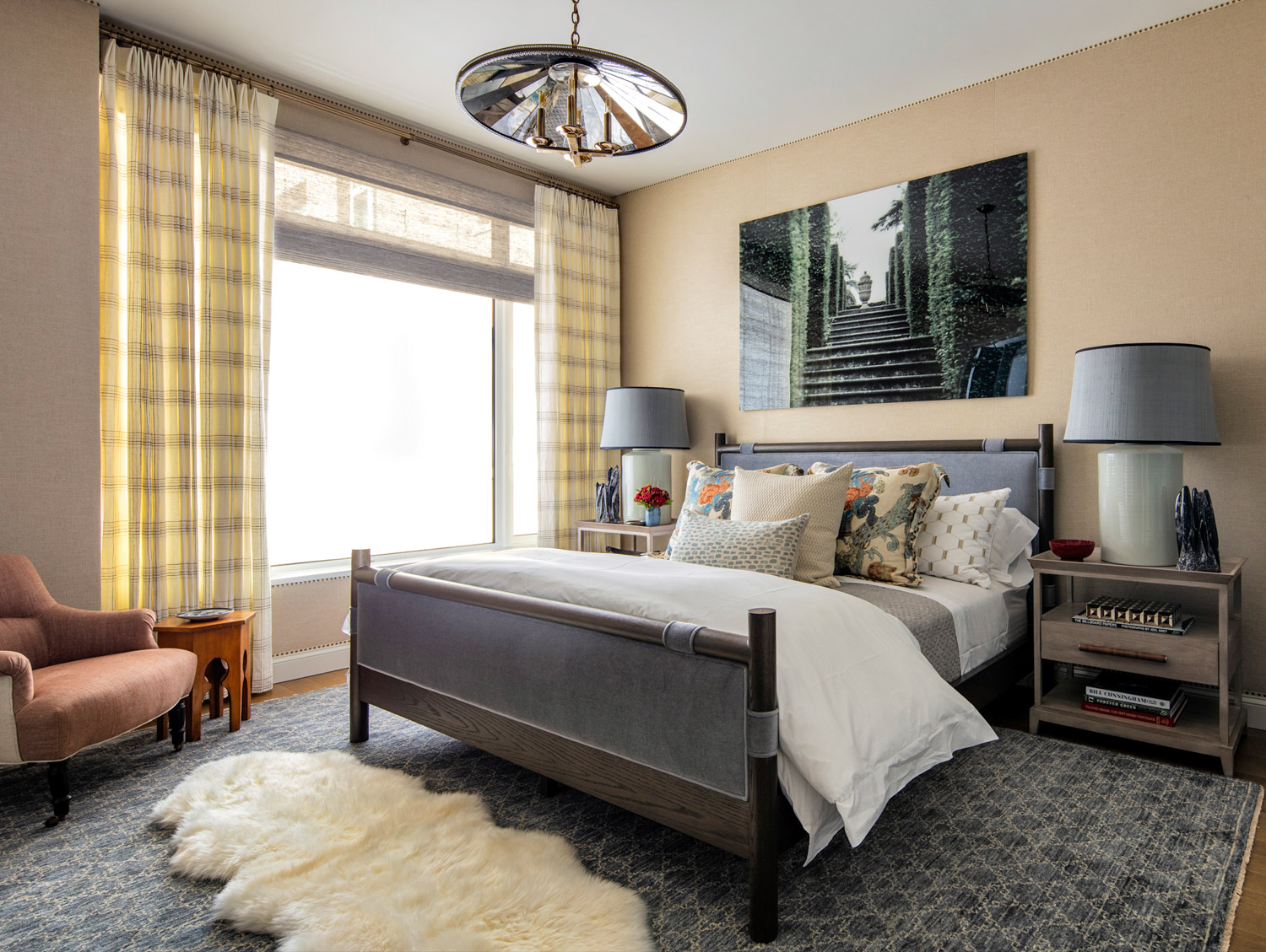bedroom with linen walls and...