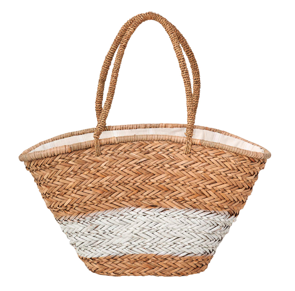 white and tan woven tote
