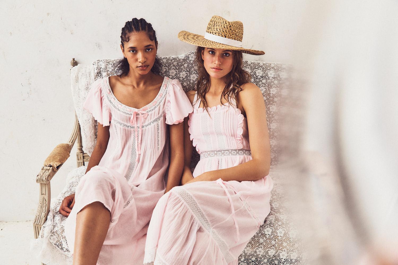 loveshackfancy pink feminine dresses models