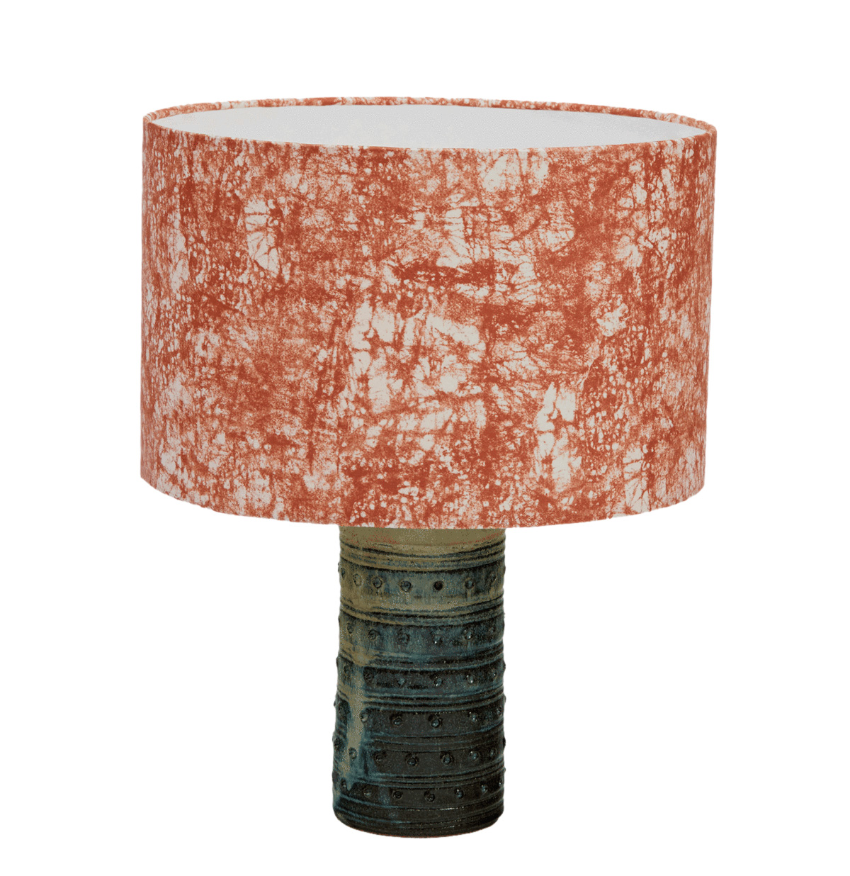 lamp with coral shade and green base