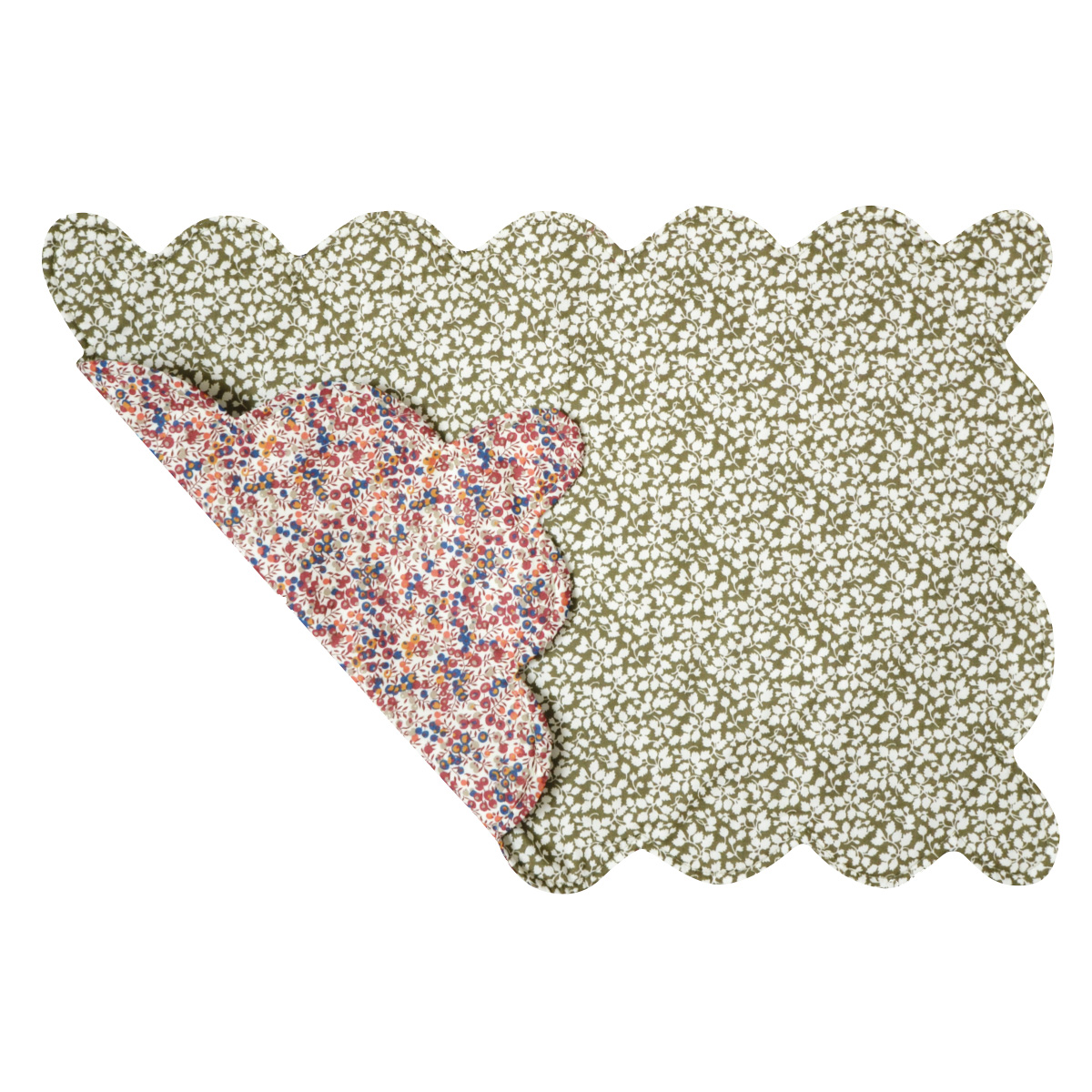 green and blush floral placemat