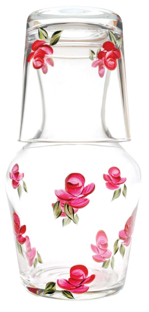 bright pink rosebud carafe