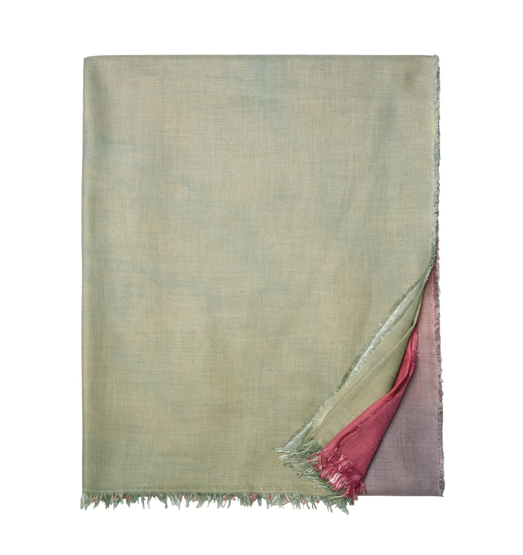 sage bed scarf with fringe edges