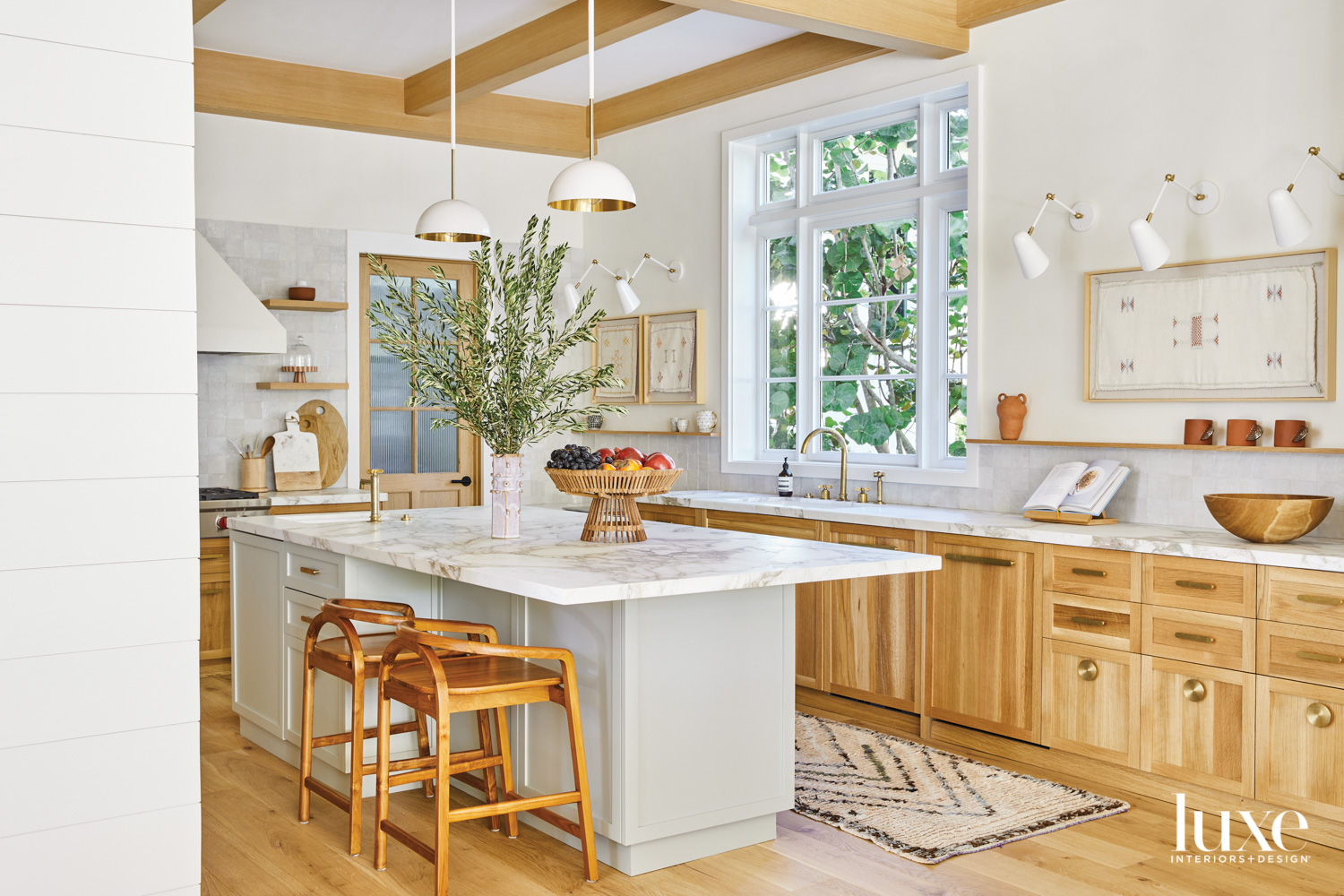 kitchen with white oak cabinetry...