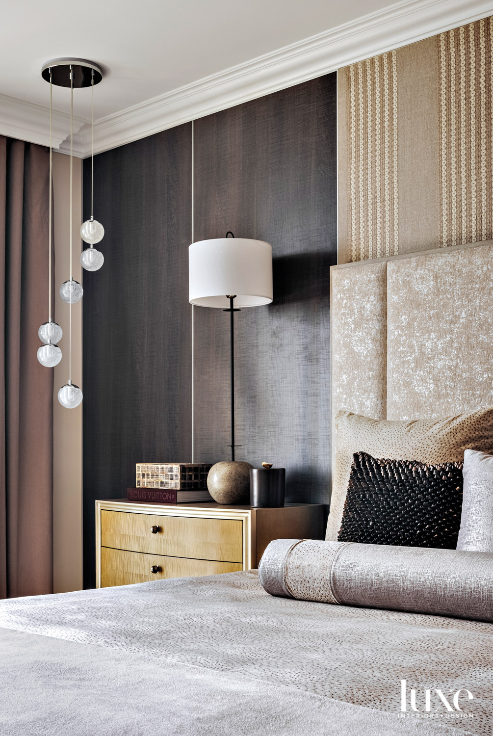 bedroom with brown wood wall,...