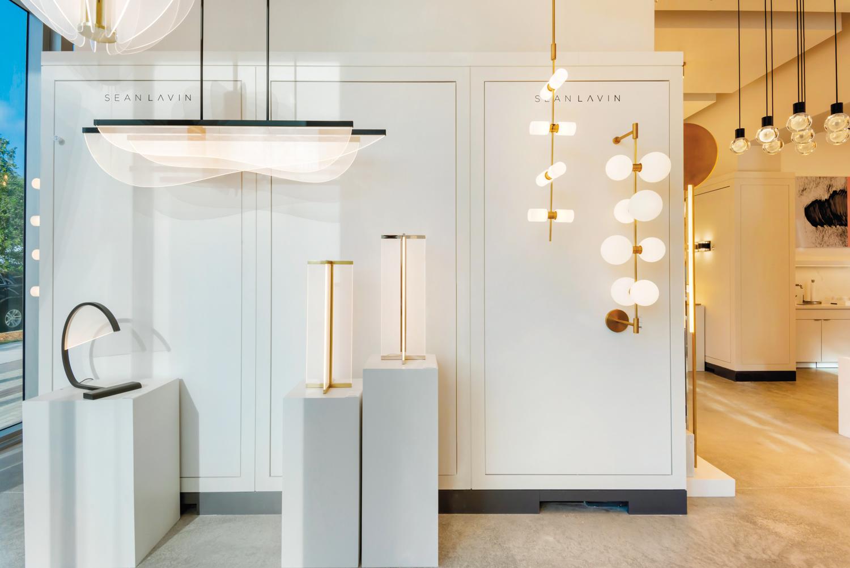 Lighting showroom with modern chandeliers and pendants