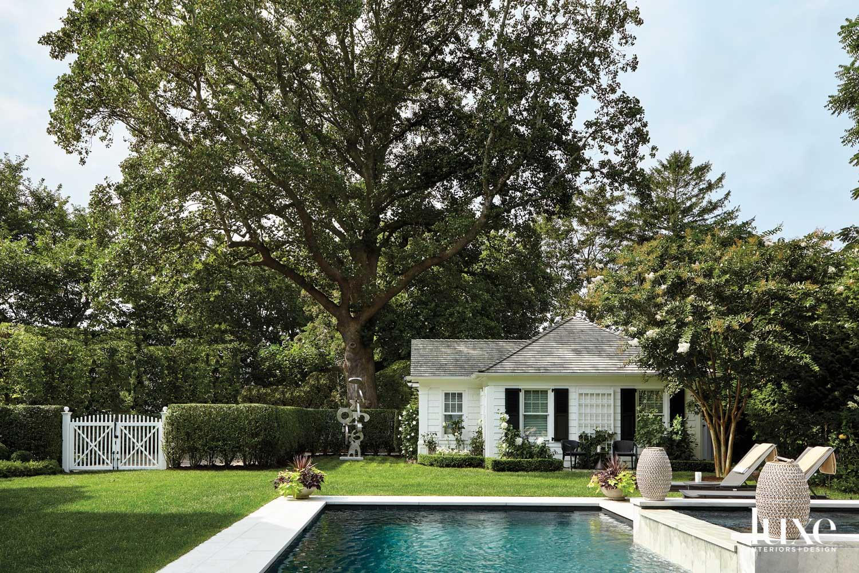 white pool house