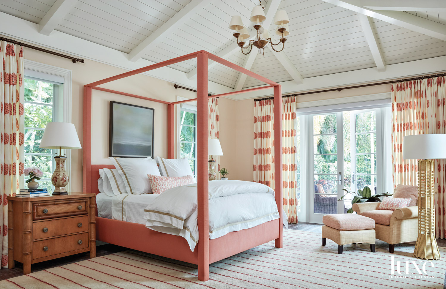 bedroom with coral four-poster bed,...
