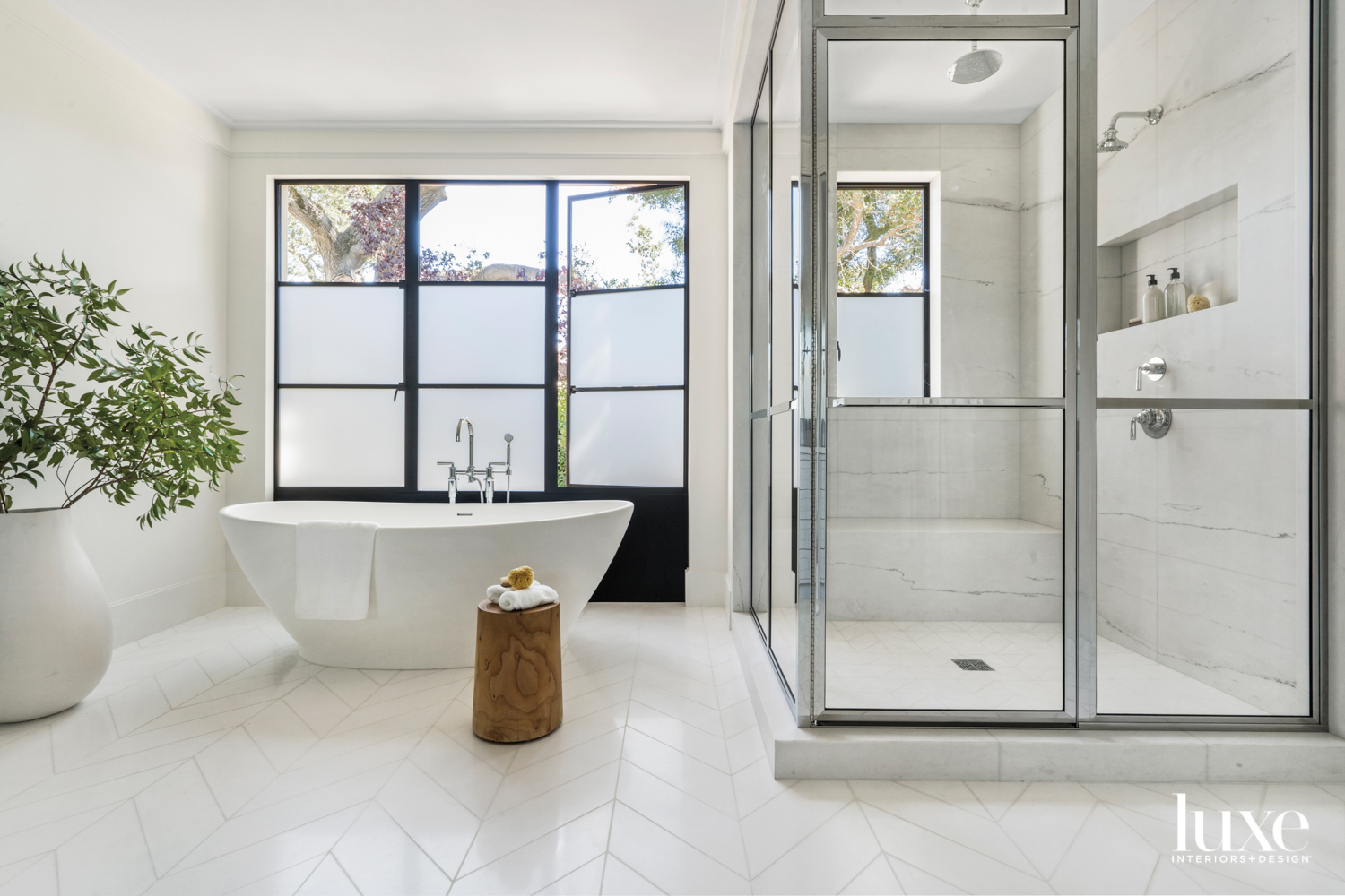 primary bath with metal-and-glass doors