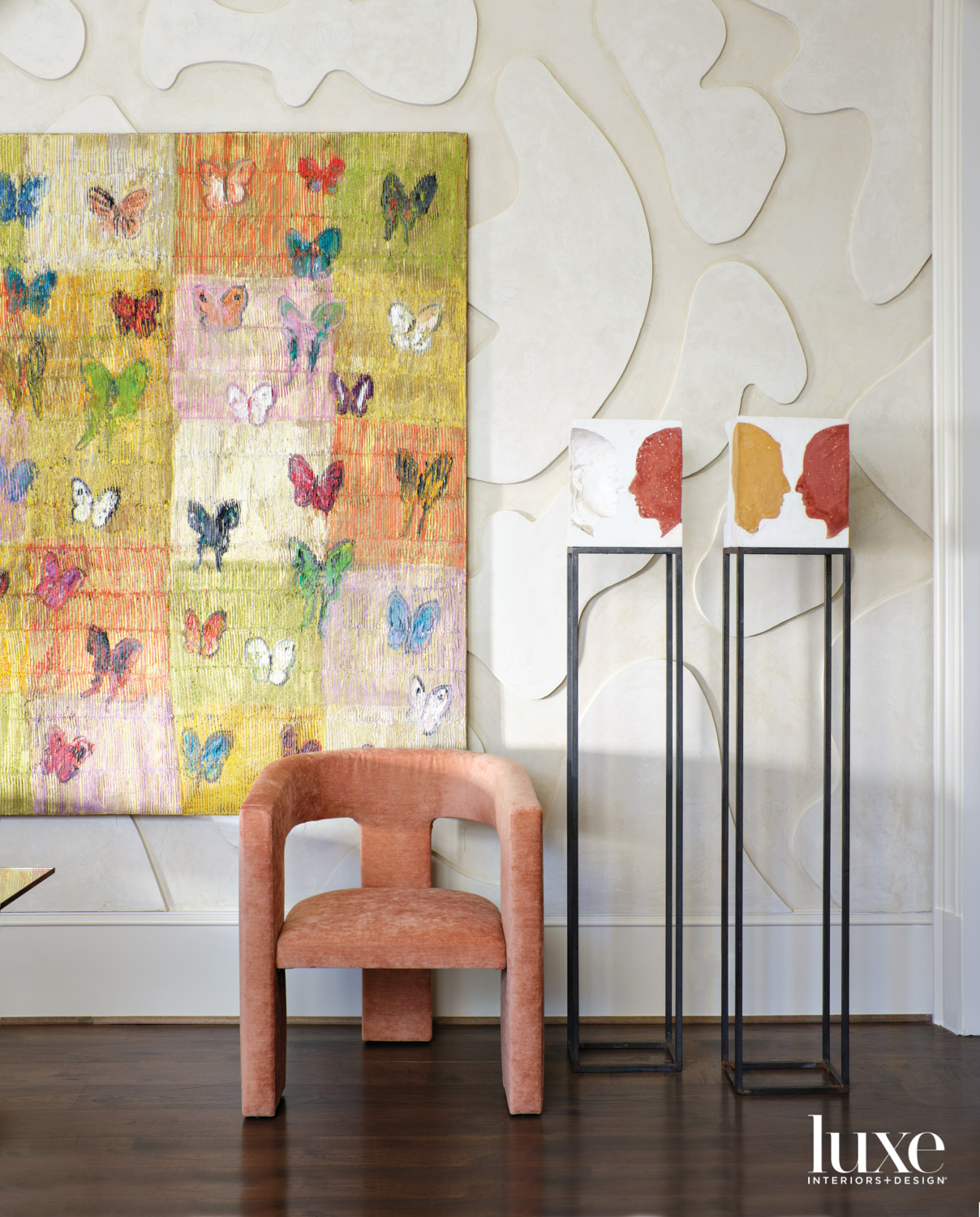 Colorful butterfly artwork against textured...