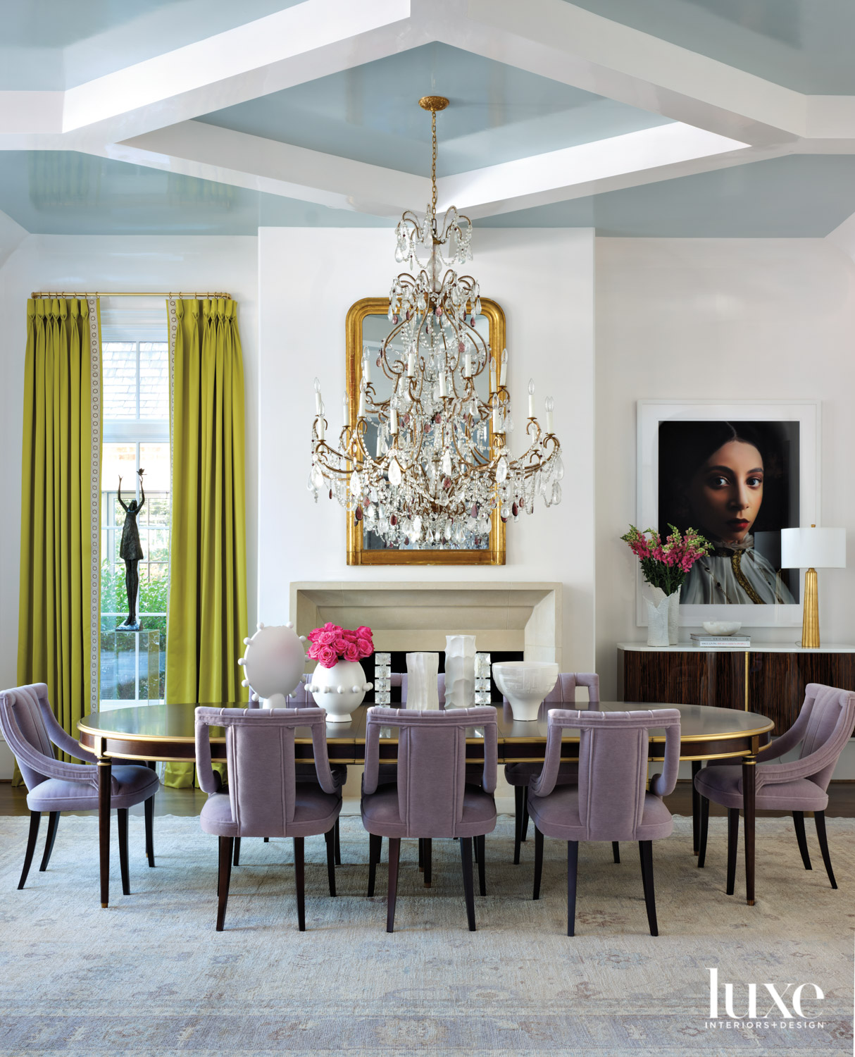 Grand dining room with blue...