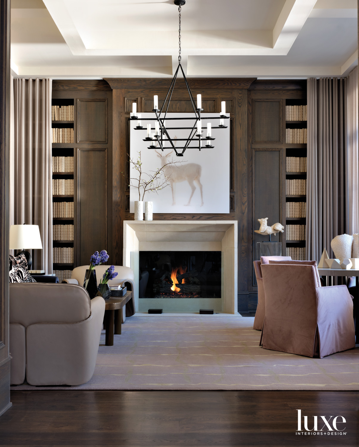 Library with cozy fireplace, stag...