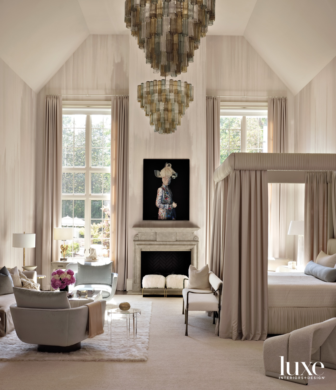Bedroom with vaulted ceiling, soft...