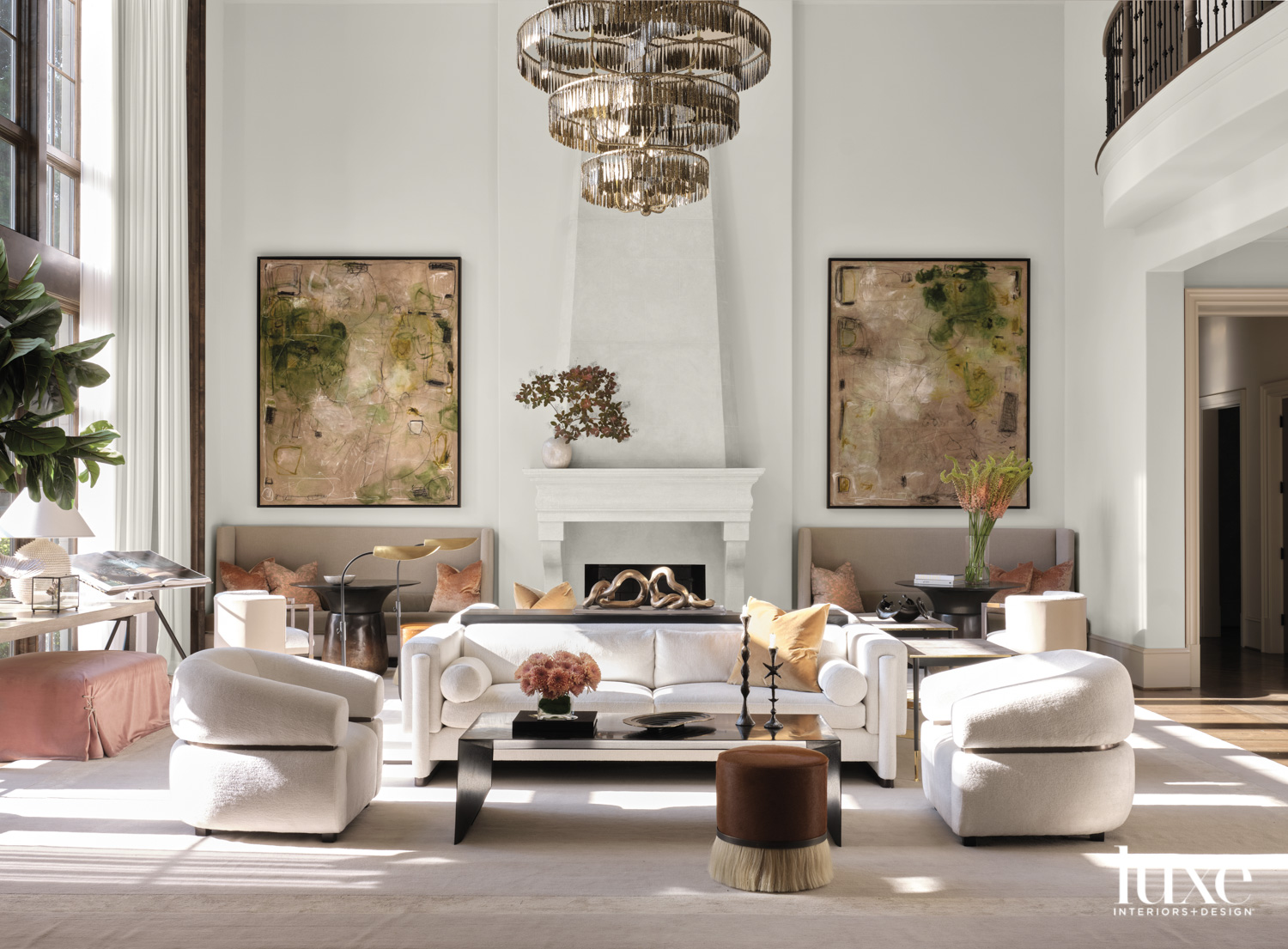 A large living room with...