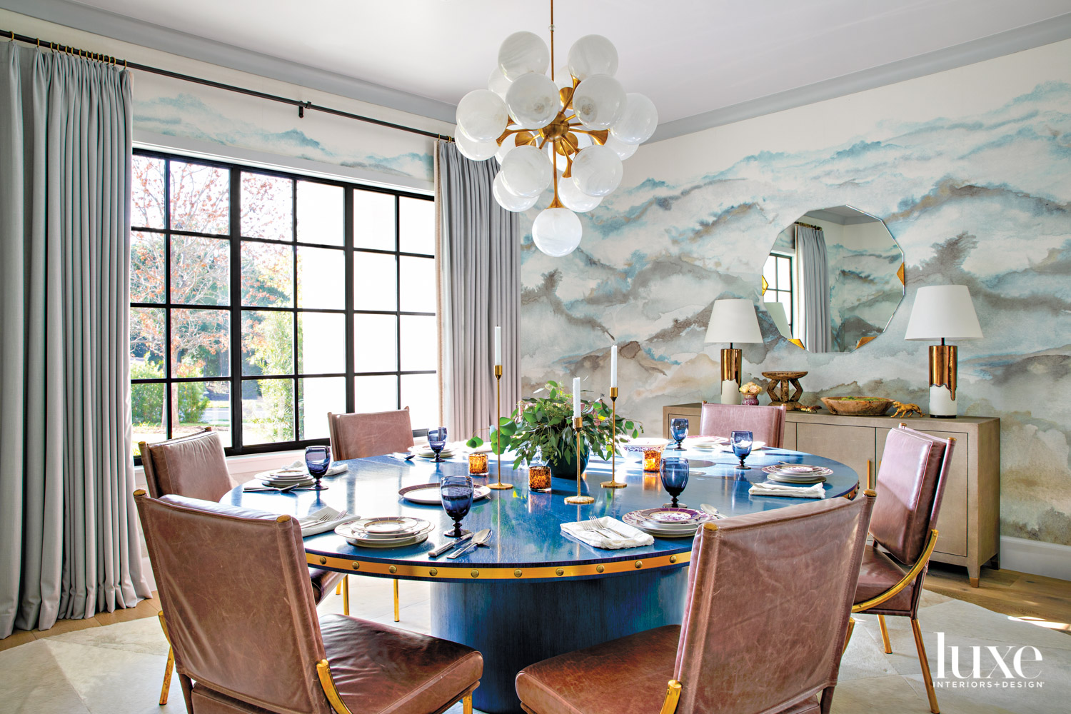 dining room with mural wallpaper...
