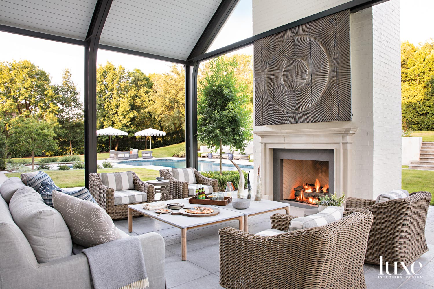 loggia with fireplace and seating...