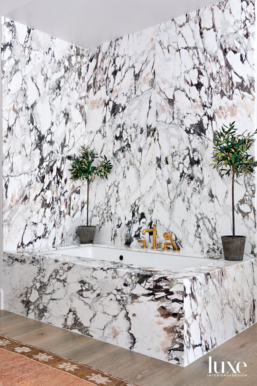 main bathroom tub with striking...