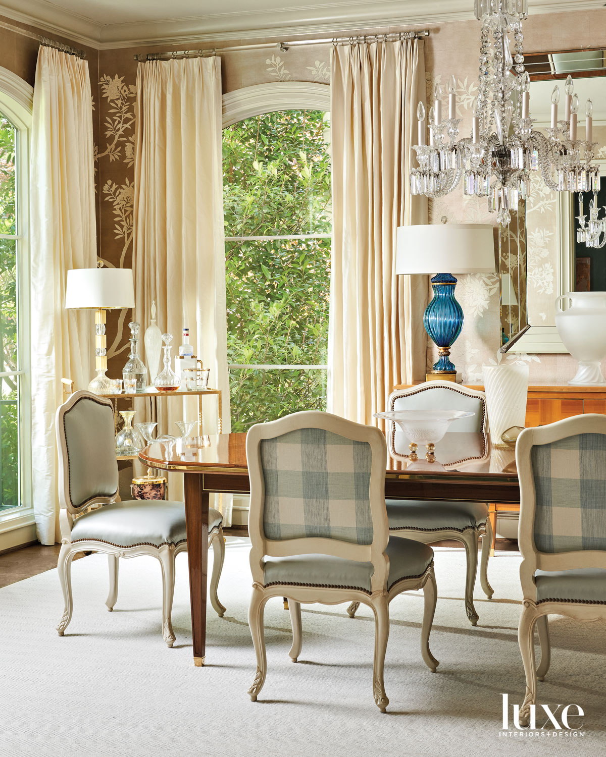 dining room with hand-painted wallpaper,...