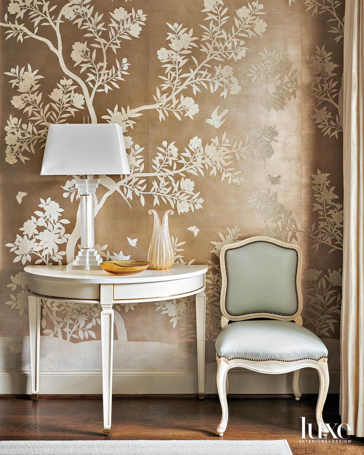 dining room vignette featuring hand-painted...