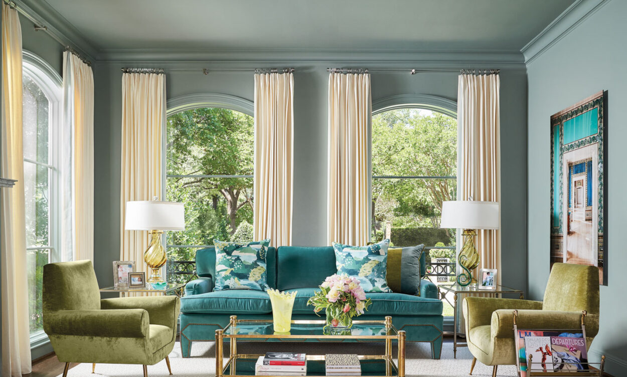 Living room with a blue and green color palette