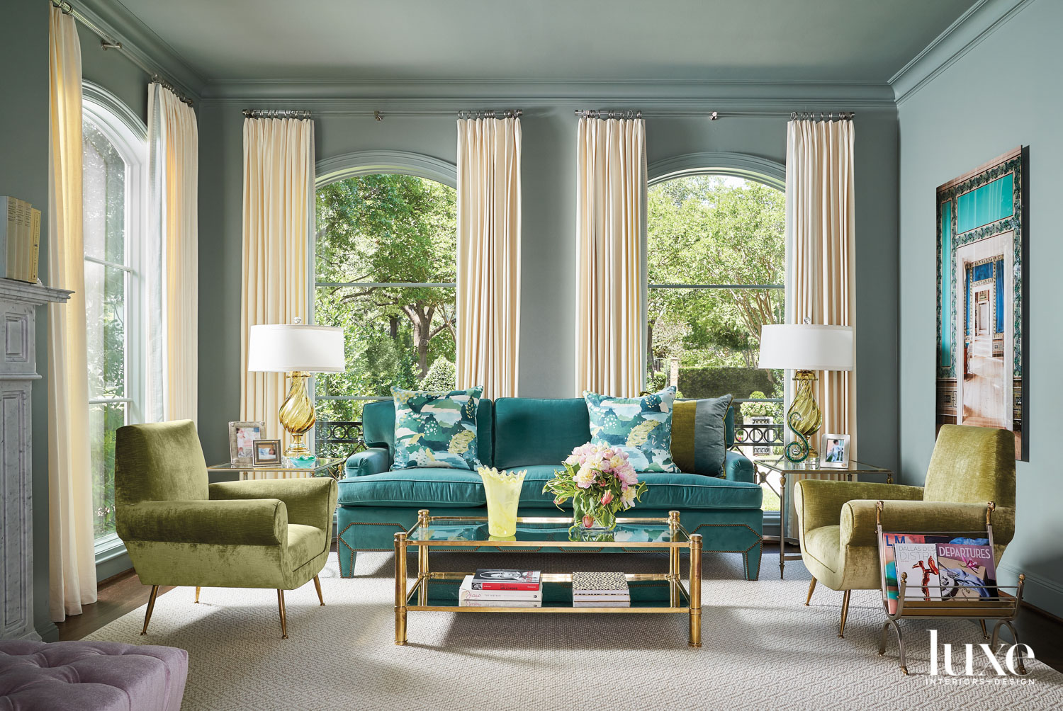 Living room with a blue...