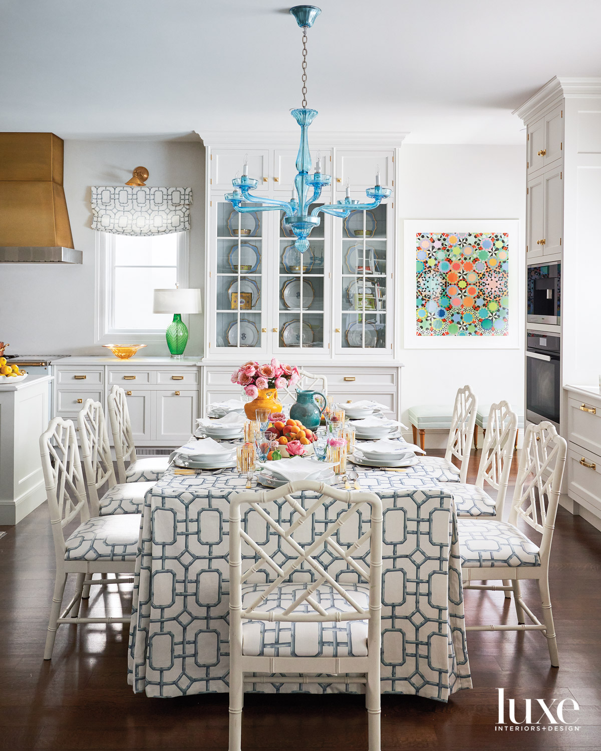 kitchen dining table with patterned...