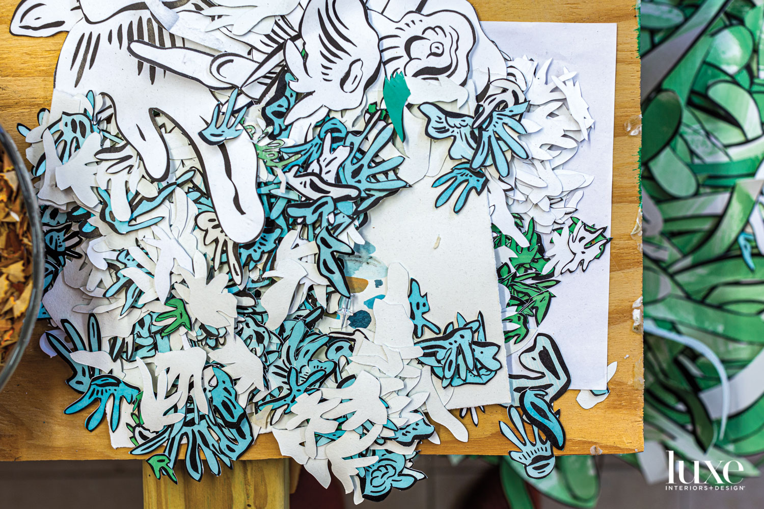collage material created by cutting and coloring paper