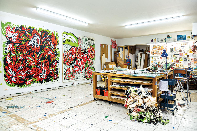 houston studio with colorful artwork