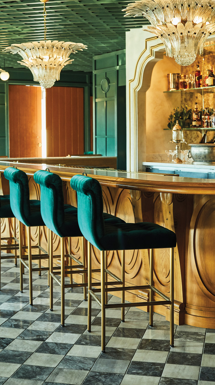 gold and green bar at lutie's restaurant