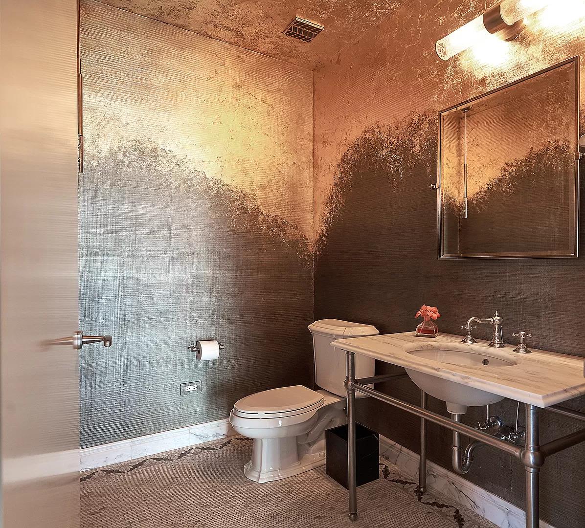 gold metallic bathroom wall covering decor
