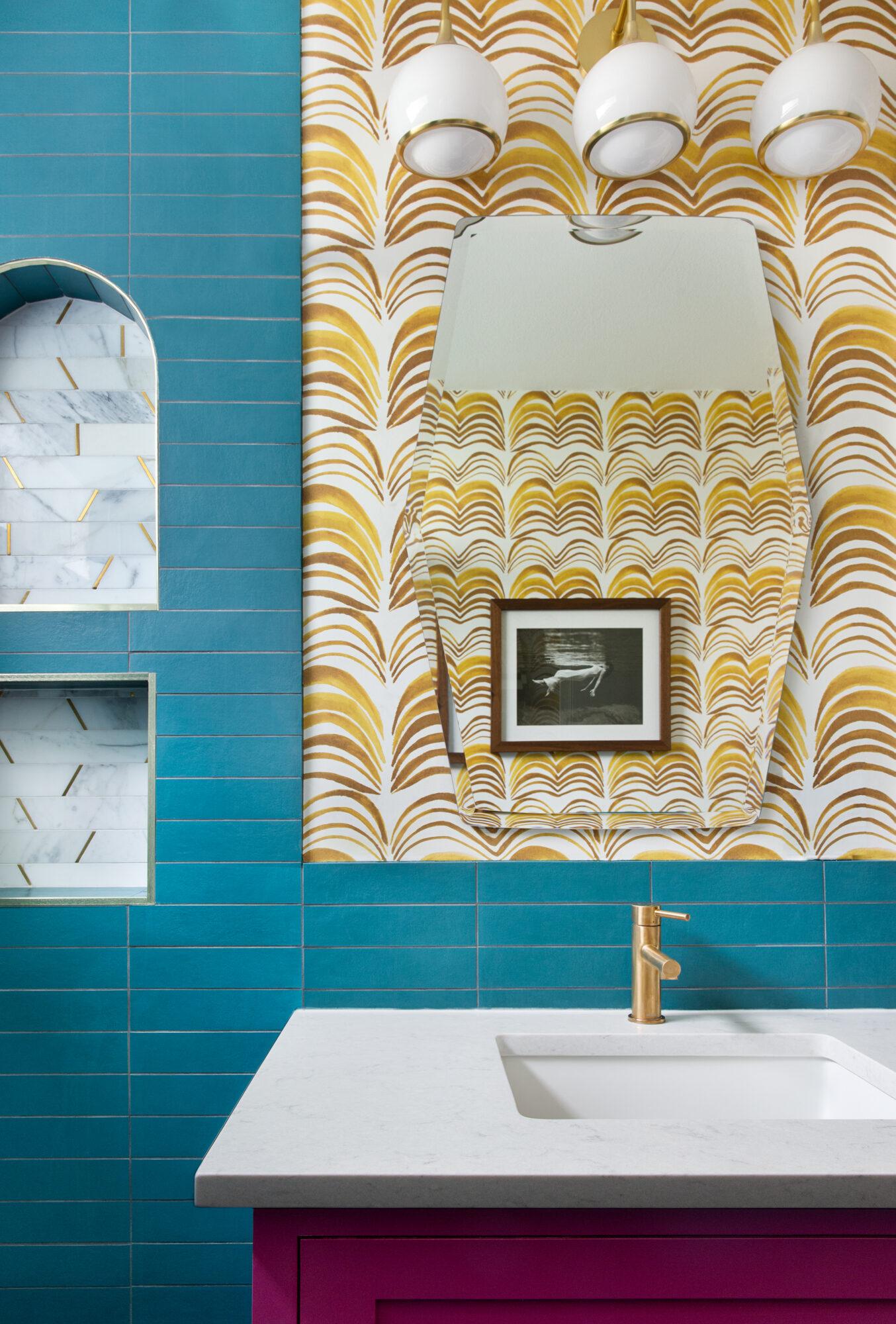 teal and swirled wallpaper bathroom